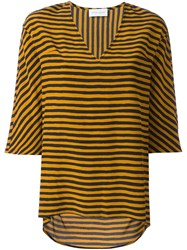 Christian Wijnants 'Tekla' Striped Top Yellow And Orange