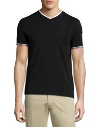 Moncler Tape Tipped Short Sleeve Tee Black Size X Large