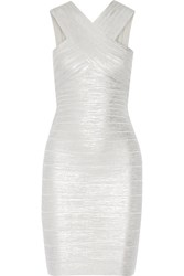 Herve Leger Stella Metallic Bandage Dress Silver