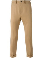 People People Cropped Slim Fit Trousers Nude And Neutrals
