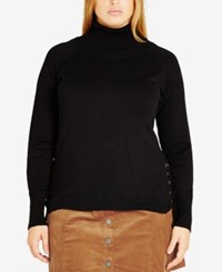 City Chic Trendy Plus Size Lace Up Turtleneck Black