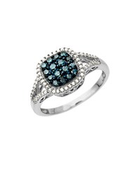 Lord And Taylor 14Kt. White Gold Blue Green Diamond Ring