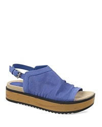 Naya Open Toe Slingback Platform Sandals Uno Perforated Blue