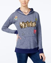Miss Chievous Juniors' No Way Sequin Pullover Hoodie Blue Print