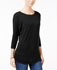 Planet Gold Juniors' Ruched Dolman Sleeve Top Black