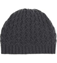 Johnstons Textured Ribbed Cashmere Beanie Smog
