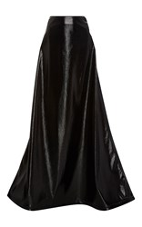 Rosie Assoulin Crater Faux Leather Maxi Skirt Black