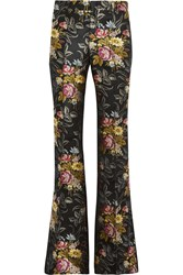 Gucci Silk Jacquard Flared Pants Black Yellow