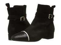Just Cavalli Laminated Crackle Low Heel Ankle Bootie Black Women's Boots