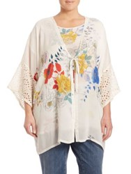 Johnny Was Plus Size Eyelet Floral Kimono White Multi