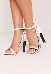 Missguided Studded Pointed Toe Barely There Heels White