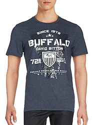 Buffalo David Bitton Graphic Short Sleeve Tee Heather Blue White
