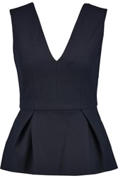 Iris And Ink Juana Wool Blend Felt Peplum Top Navy