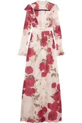 Giambattista Valli Lace Paneled Floral Print Silk Chiffon Gown Red