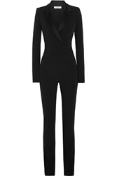 Thierry Mugler Satin Trimmed Stretch Crepe Jumpsuit