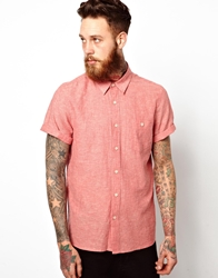 Asos Shirt In Short Sleeve With Linen Mix Red