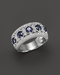 Bloomingdale's Sapphire And Diamond Band Ring In 14K White Gold Blue White