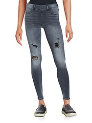 True Religion The Runway Distressed Leggings Faded Black