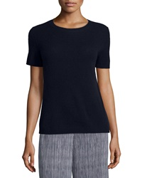 Theory Tolleree B Short Sleeve Cashmere Sweater Jet Navy