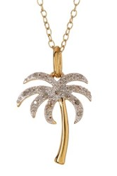 Elani Jewelry 10K Two Tone Gold Plated Sterling Silver Diamond Palm Tree Pendant Necklace 0.10 Ctw Metallic