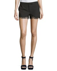 Elizabeth And James Hanlon Perforated Scallop Hem Shorts Black Women's