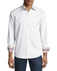 Robert Graham Volcanic Rock Woven Button Front Shirt White