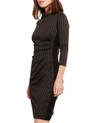 Lauren Ralph Lauren Novinda Houndstooth Ponte Dress Grey Black