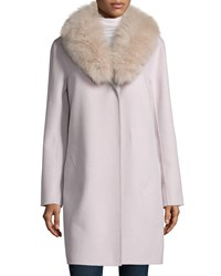 Neiman Marcus Cashmere Collection Double Face Cashmere Coat W Fur Collar Women's