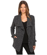 The Kooples Mouline Mix Cashmere Open Cardigan Black