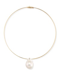 Mizuki Medium Single Pearl Collar Necklace White