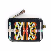 Tovi Sorga Leather Purse Black Twist With Neon Orange Black Yellow Orange