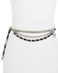 Michael Michael Kors Laced Chain Belt Black Polished Nickel