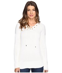 Calvin Klein V Neck Lace Up Sweater Soft White Women's Sweater