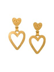 Chanel Vintage Heart Swing Cutout Earrings Metallic