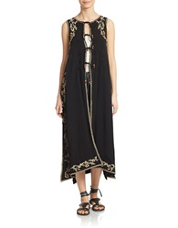 Free People Embroidered Maxi Vest Black