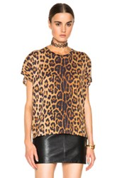 Saint Laurent Leopard Print Oversize Tee In Brown Animal Print
