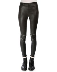 Saint Laurent Leather Leggings W Zip Detail Black Women's
