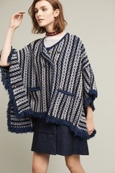 Anthropologie Tajo Jacquard Poncho Dark Blue