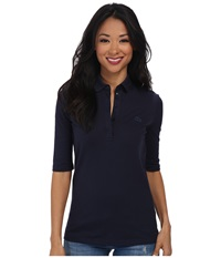 Lacoste Half Sleeve Slim Fit Stretch Pique Polo Shirt Navy Blue Women's Short Sleeve Knit