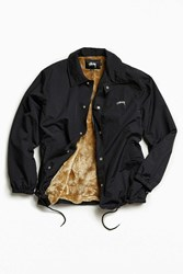 Stussy Smooth Stock Faux Fur Lined Coach Jacket Black