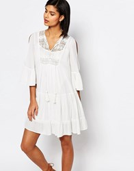 French Connection Castaway Lace Smock Dress Summer White