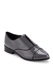 Saks Fifth Avenue Polished Cap Toe Loafers Grey