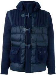 Bark Ribbed Padded Duffle Jacket Blue