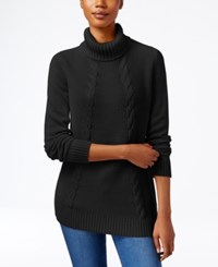 Karen Scott Cable Knit Turtleneck Sweater Only At Macy's Deep Black
