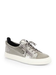 Giuseppe Zanotti Suede And Patent Leather Low Top Sneakers Grey