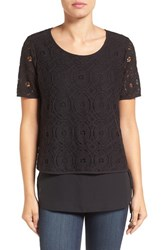 Pleione Women's Double Layer Short Sleeve Lace Top