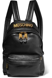 Moschino Embellished Textured Leather Backpack Black