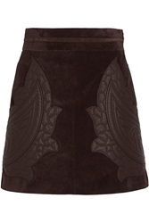 Chloe Leather Appliqued Suede Mini Skirt