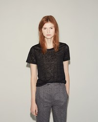 Isabel Marant Madras Linen Tee Shirt Faded Black