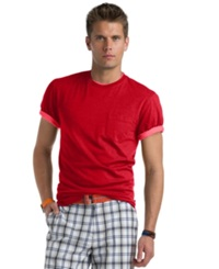 Izod Solid Crew Neck T Shirt Glossy Red